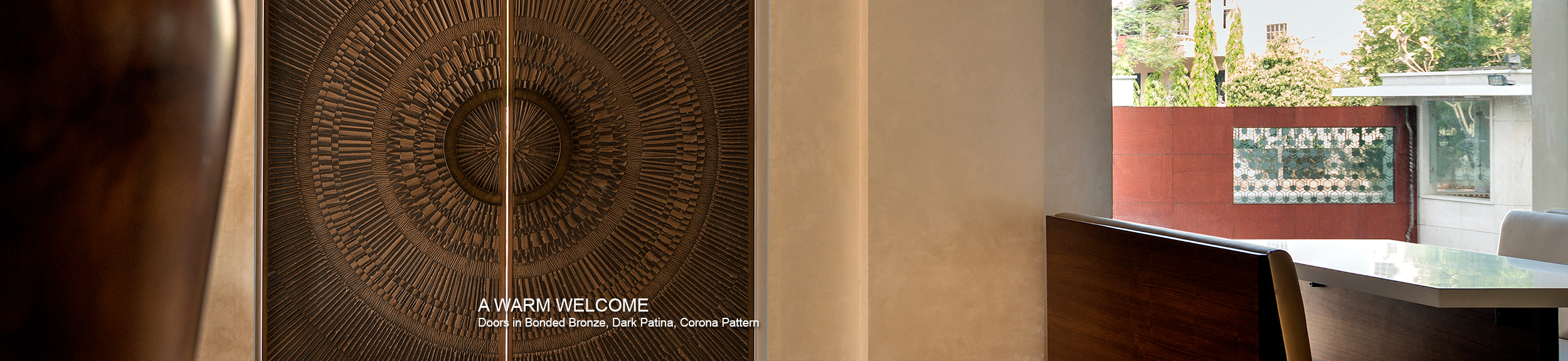 Doors shown in Bonded Bronze with Dark Patina and Corona pattern