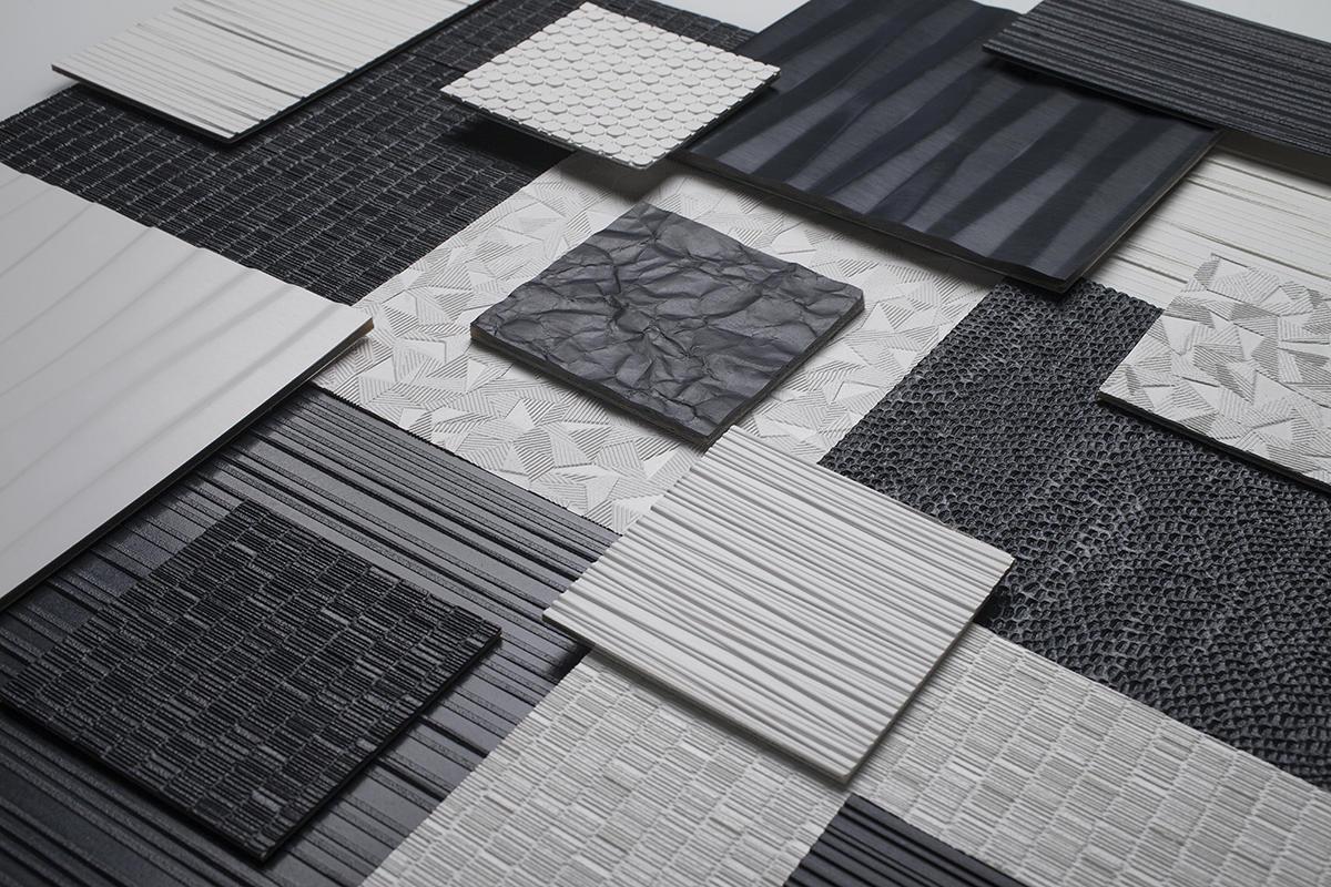 Bonded Quartz patterns: Dune, Current, Grass, Dash, Tilt, Crinkle, Glint, Carbon