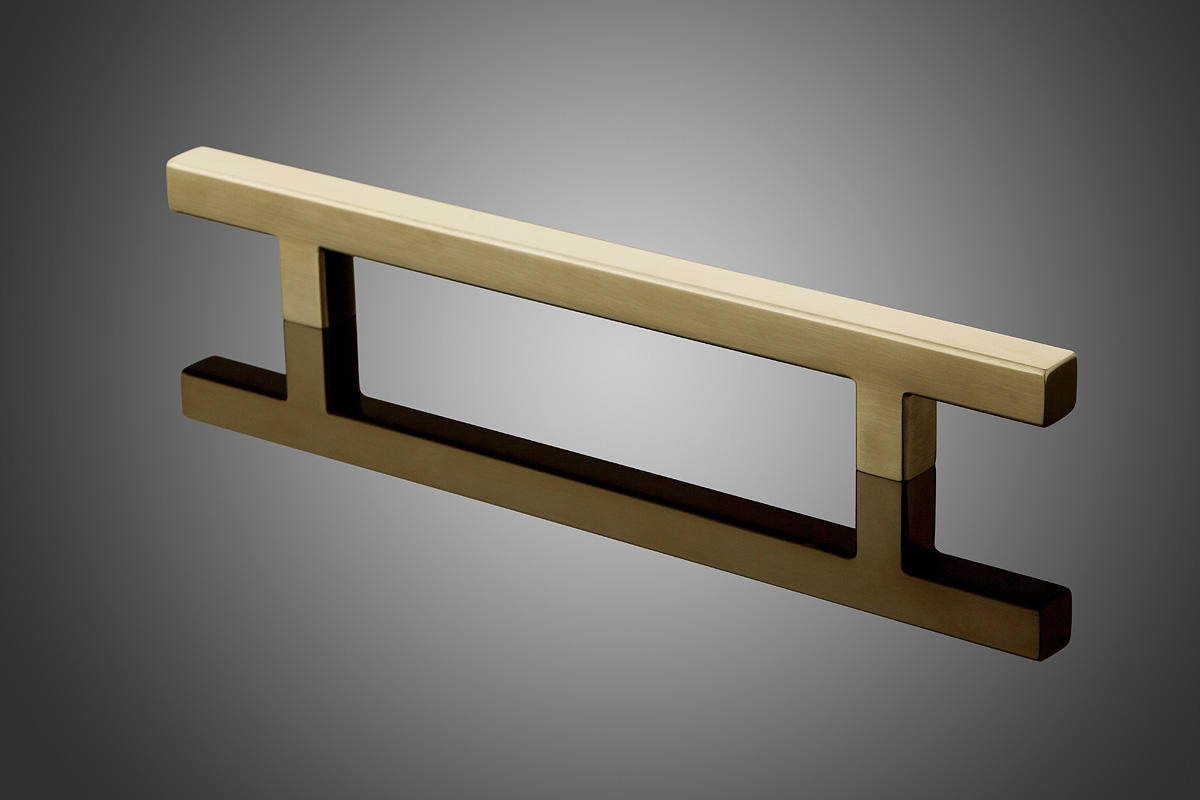 entry door pulls. rectangular model hdrec1014 shown in satin brass (us4). grip cross section: 1\ entry door pulls i