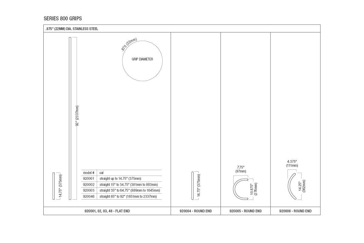 Compass Series 800 Door Pulls Sizes