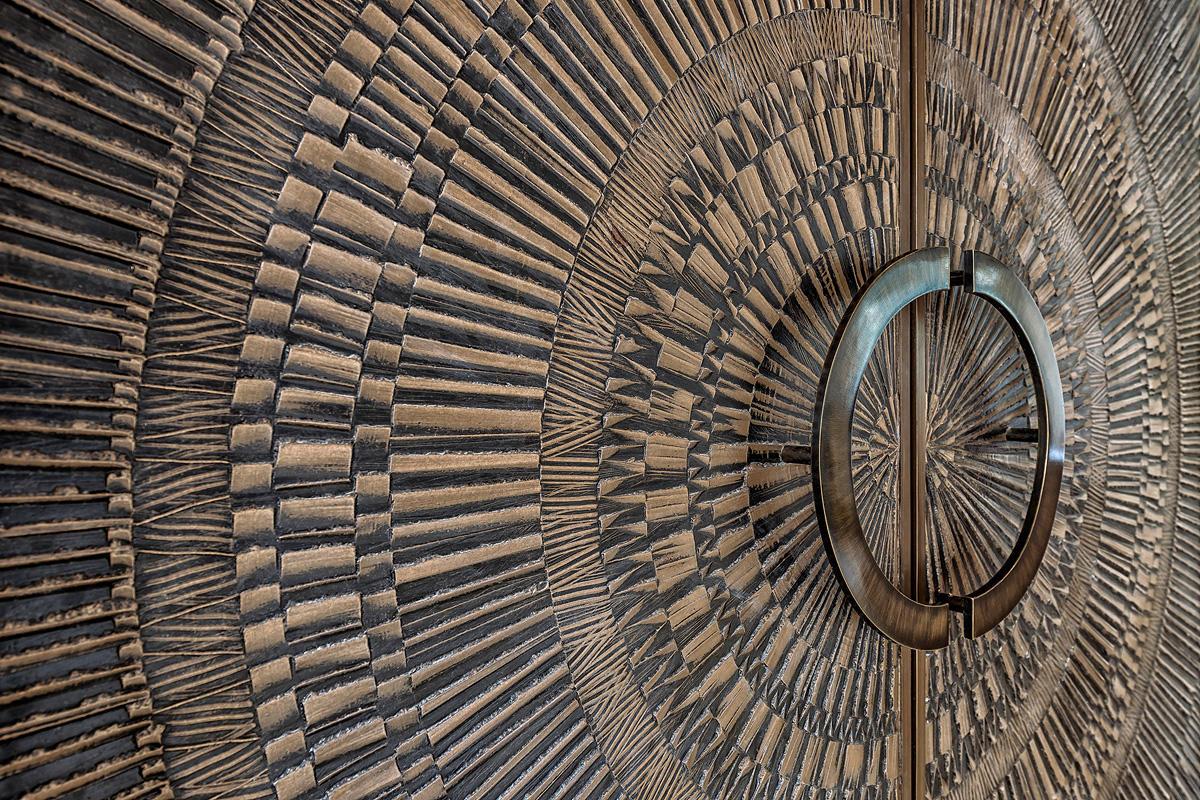 Doors shown in Bonded Bronze with Dark Patina and Corona pattern