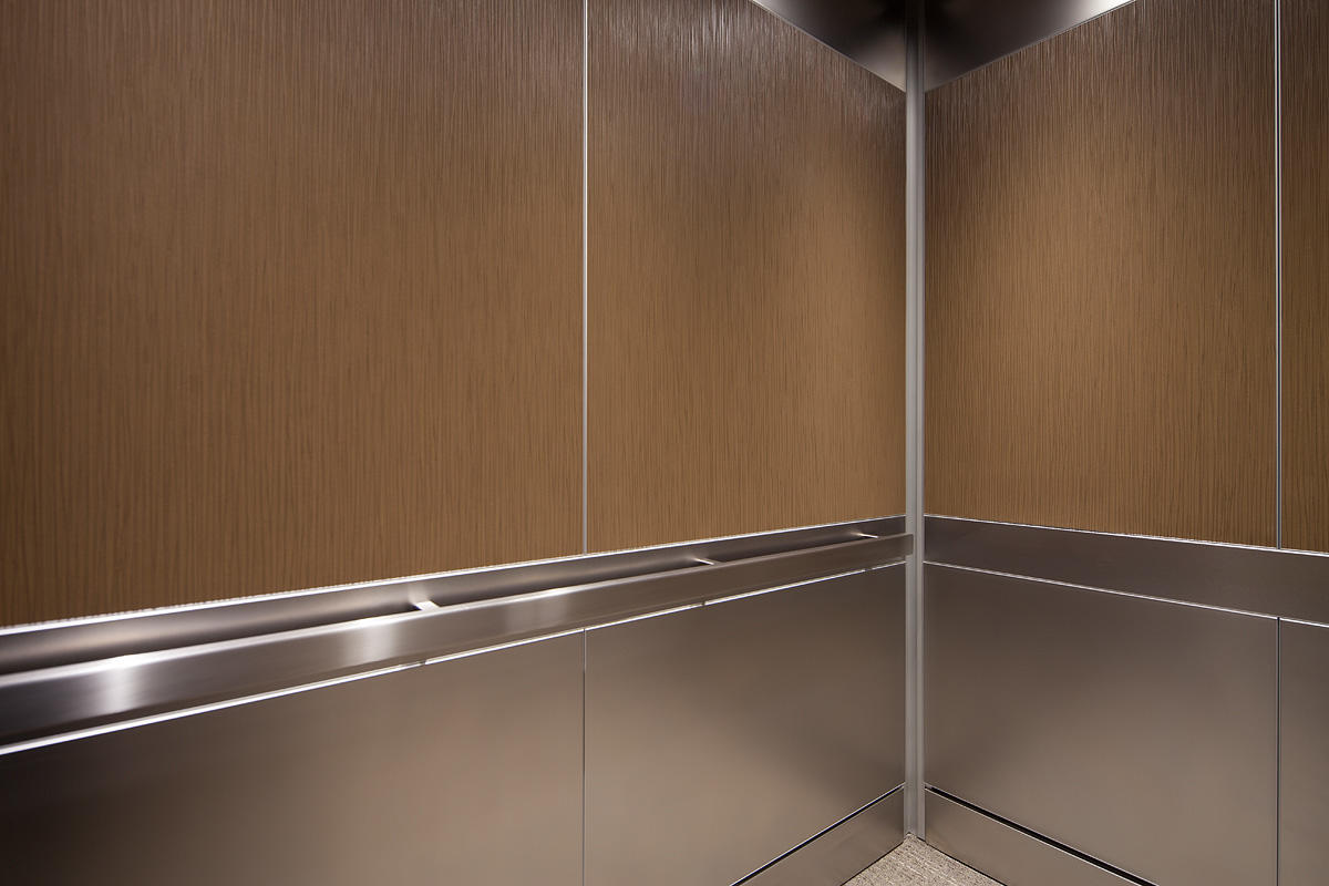 ... LEVELe 106 Elevator Interior With Panels In Bonded Bronze With Natural  Patina ...