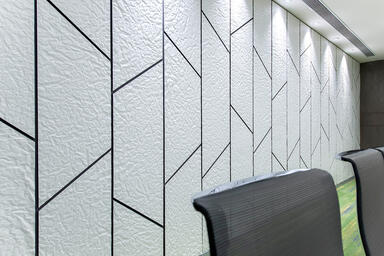 Wall panels in Bonded Quartz, White with Crinkle pattern