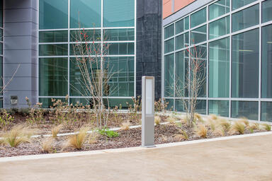 Tangent Bollard shown with Aluminum Texture powdercoat at NASA Human Health & Pe